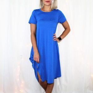 LulaRoe Carly High Low Blue Pocket Dress